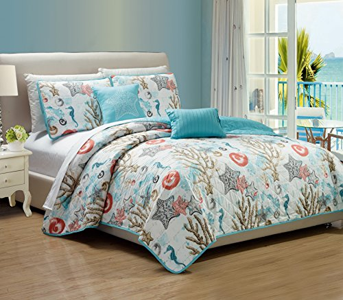 RT Designers Collection Coastal 5-Piece Quilt Set, Queen (Sets Quilt Designer)