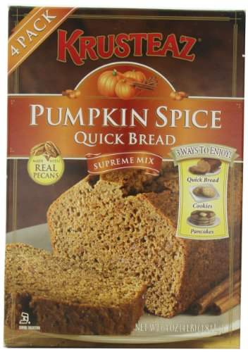 Pumpkin Spice Bread Quick Bread - Krusteaz Quick Bread Supreme Mix, NET WEIGHT 64 oz. (FOUR 1 lb MIX PACK) by Krusteaz