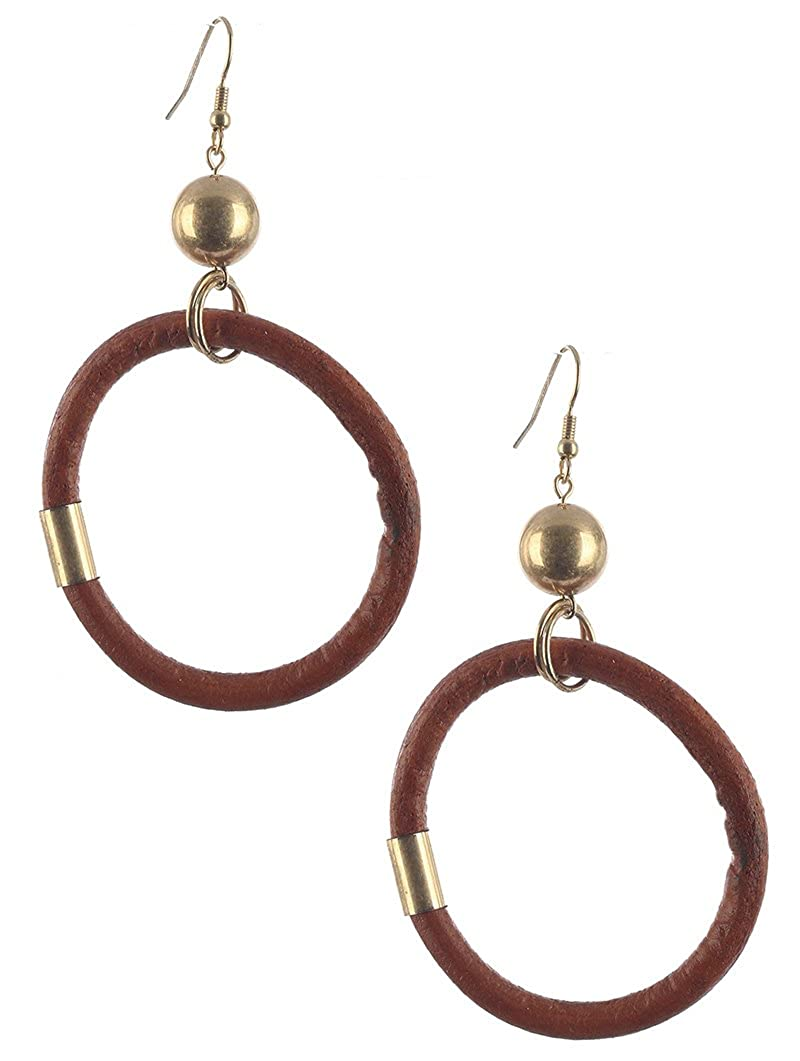 Destinees brown FAUX RUBBER RING DANGLE EARRING