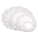 400-pack Round Lace Paper Doilies Decorative White Doily Lace Paper for Packaging Cake Pastry and Cookie (100-pack 4.5 Inch, 100-pack 6.5 Inch, 100-pack 8.5 Inch and 100-pack 10.5 Inch)