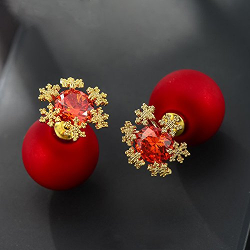 red Snowflake Earrings earings Dangler Eardrop Women Girls Country Creative Personality Creative Frosted Ball s925 Sterling Silver Ear Hypoallergenic Jewelry Birthday Gift ()