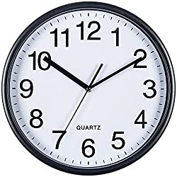 Bernhard Products Black Wall Clock, Silent Non Ticking - 10 Inch Quality Quartz Battery Operated Round Easy to Read Home/Office/School Clock (13 Inch)