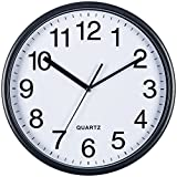Bernhard Products Large Black Wall Clock, Silent Non Ticking - 13 Inch Quality Quartz Battery Operated Round Easy to Read Home/Office/School Clock
