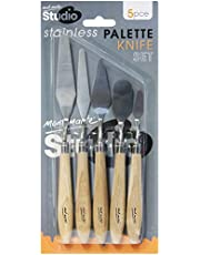 Mont Marte Studio Palette Knife Set, 5 Piece. Selection of Different Sizes and Styles of Stainless Steel Palette Knives.