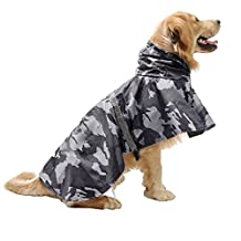 Pet Raincoat Leisure Waterproof Clothes Lightweight Camouflage Rain Jacket Poncho with Strip Reflective For Large Medium Dog (XXL, Grey)