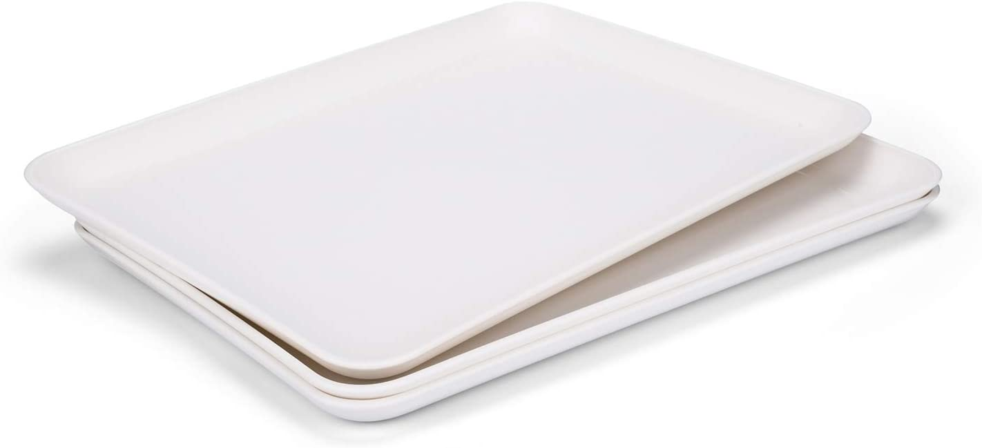 "Unbreakable and Reusable 14"" x 10 "" Plastic Serving Tray/Platters, Set of 3 White, Dishwasher Safe, BPA Free"