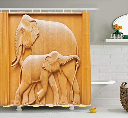 Ambesonne Sculptures Decor Collection, Carved Wooden Mother and Child Baby Elephants African Animals Artistic Design, Polyester Fabric Bathroom Shower Curtain, 84 Inches Extra Long, Ivory Cream