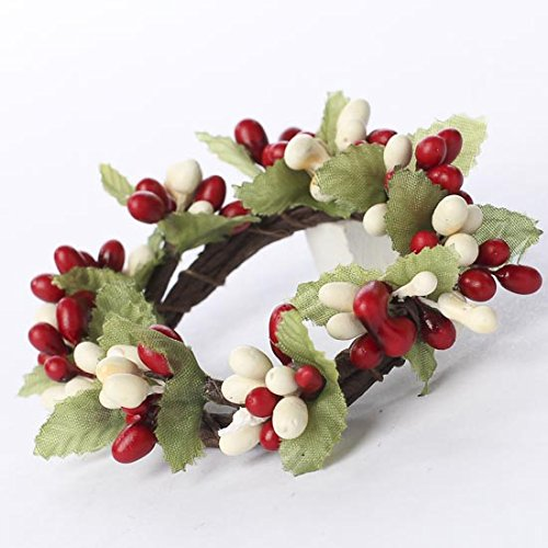 Factory Direct Craft Plump Red and Cream Pip Berry Candle or Napkin Rings | Group of 4 -