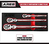 ARES 42028-3-Piece 72-Tooth Flex Head Ratchet Set - Premium Chrome Vanadium Steel Construction & Chrome Plated Finish - 72-Tooth Quick Release Reversible Design with 5 Degree Swing