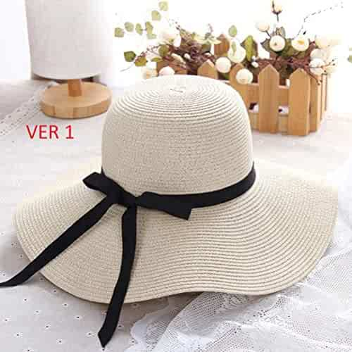 mrGood Summer Straw hat Women Big Wide Brim Beach hat Sun hat Foldable Sun  Block UV ba8d61785b55