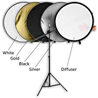 Fotodiox Pro 32 5-in-1 Collapsible Reflector Kit, with Stand and Holder Arm, Silver/Gold/Black/White/Diffuser