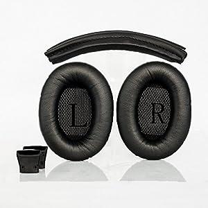 Natoo Replacement Earpads Ear pads and Headband Cushion pad for Bose Quietcomfort 2 15 QC2 QC15 Ae2 Ae2i Ae2w Headphone (QC15-Headband)