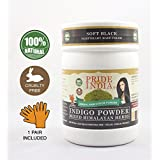 Pride Of India - Indigo Hair Color Powder w/ Mixed Himalayan Herbs - Soft Black Color, Half Pound (8oz - 227gm) - 1 Pair Free Gloves Included