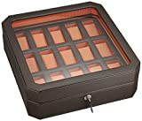 WOLF 458506 Windsor 15 Piece Watch Box with Cover, Brown/Orange