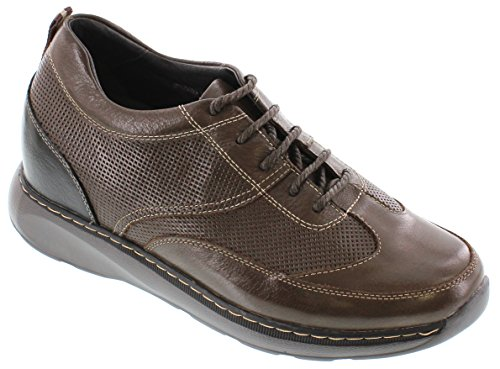 Toto H28011-3.2 Inches Taller - Height Increasing Elevator Shoes - Bruine Leren Lichtgewicht Veterschoenen Met Losse Schoenen