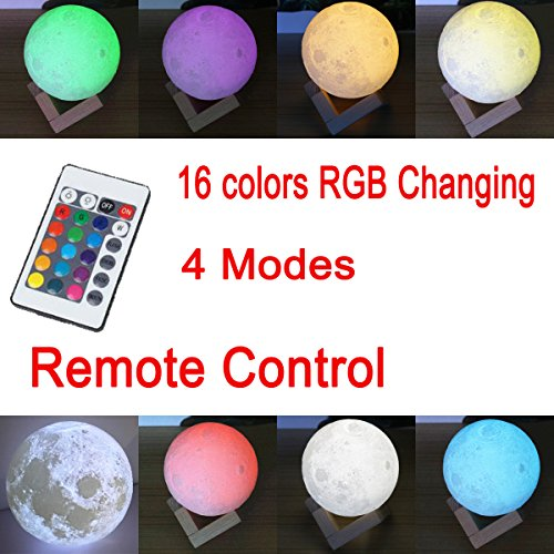 Moon Lamp 3D Printed Remote Control Night Light 16 RGB Colors Changing Dimmable LED Mood Light USB Rechargeable Moonlight 12cm/4.7 inch With Wood Stand (12cm) by Sourcebuy (Image #3)