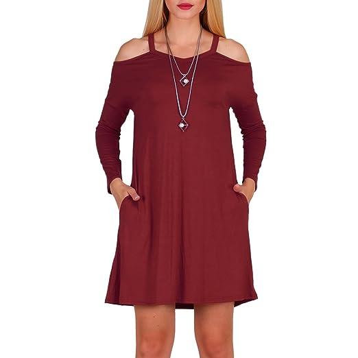 8cfa015f30b Aierbulu Women's Tshirt Dresses Off Shoulder Long Sleeve Cross Neck Casual  Dress