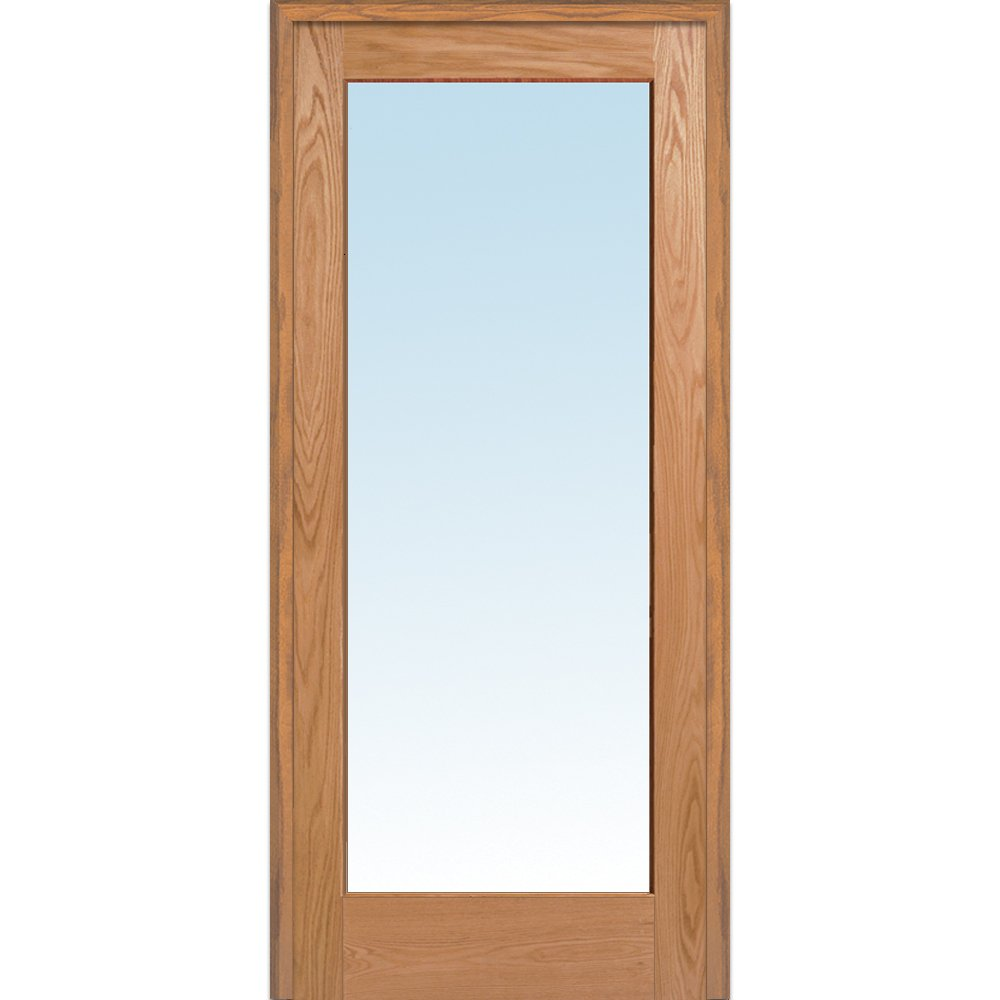 National Door Company Z019986L Unfinished Red Oak Wood 1 Lite Clear Glass, Left Hand Prehung Interior Door, 36'' x 80''