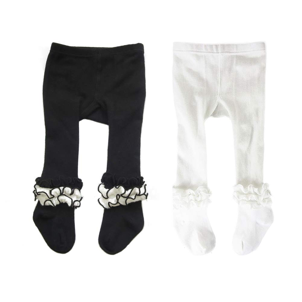 Baby Girls Embroidery Ruffle Tights Toddlers Cotton Pantyhose Footed Stocking Leggings