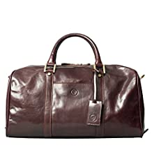 Maxwell Scott® Luxury Brown Leather Holdall Mens(The FleroS) - Small