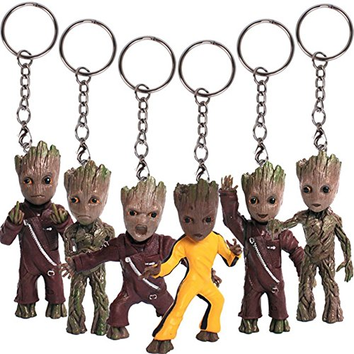 [Ganggamtop 6 pcs New Baby Groot Guardians of the Galaxy Vol. 2 Key Chain Alloy Keyring Pendant] (Loki Dog Costume For Sale)
