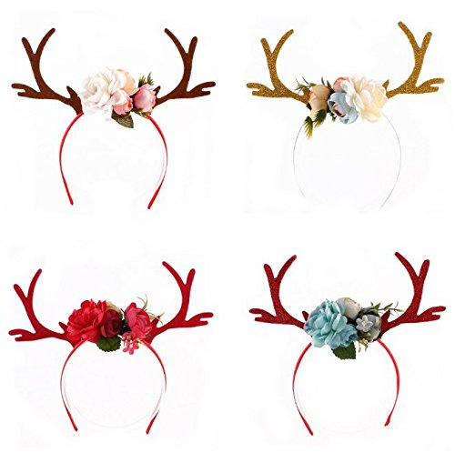 URbeauty 1PC Lovely Christmas Antlers Elk Headband with Glitter Ears DIY Fawn Plum Moose Child Reindeer Horn Flower Hair Band Party Clothing Accessories]()