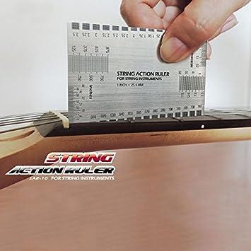 Cara Multi Función cadena acción guitarra juego de calibre herramienta de medición regla guía del usuario para guitarras eléctricas guitarra, bajo acústico: ...