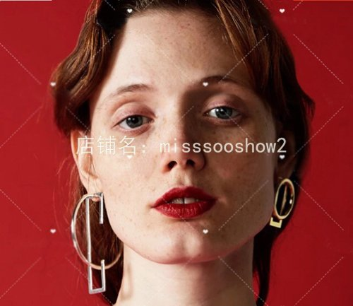 usongs Red metal mesh earrings exaggerated form geometric combination a variety fashionable accessories take fight sterling silver ()