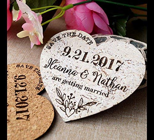 Save the date magnets for weddings, save the date announcements, wedding save the dates, cork save the dates, heart save the date magnets]()