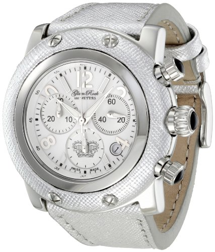 Glam Rock Women's GR10197 Miami Chronoraph White Dial Silver Color Leather Watch
