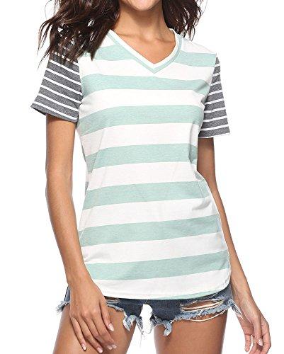 7b65f2fc40c Women Stripe Shirt Short Sleeve Ladies Tops. by dragon vines