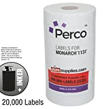 White Pricing Labels for Monarch 1131 Price Gun - 1 Sleeve, 20,000 Price Gun Labels - with Bonus Ink Roll