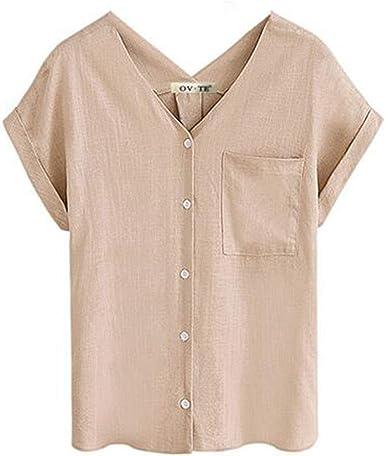 Camiseta de algodón de Lino para Mujer Camisa de Manga Corta Salvaje Suelta Top de Color sólido: Amazon.es: Ropa y accesorios