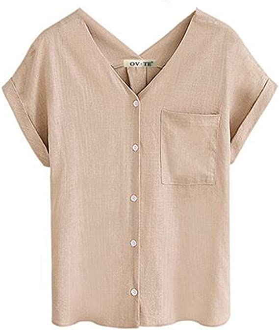 Camiseta de algodón de Lino para Mujer Camisa de Manga Corta ...