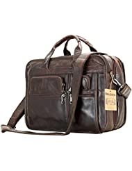 Leather Men Bag,Berchirly Genuine Leather 15.6inch Expandable Laptop Computer Business Briefcase Bags Cowhide...