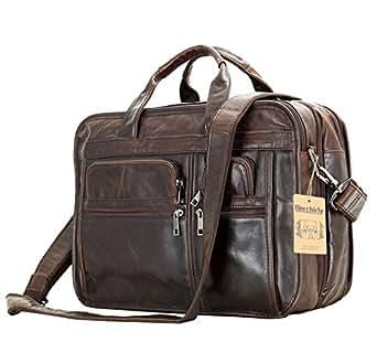 Leather Men Bag,Berchirly Genuine Leather 15inch Expandable Laptop Computer Business Briefcase Bags Cowhide Handbag Case