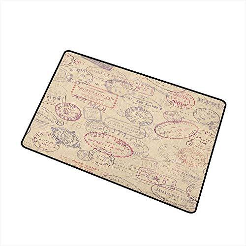 Wang Hai Chuan Vintage Front Door mat Carpet Retro Design Inspired Postage Illustration with Beige Background Antique Stamps Machine Washable Door mat W15.7 x L23.6 Inch Multicolor