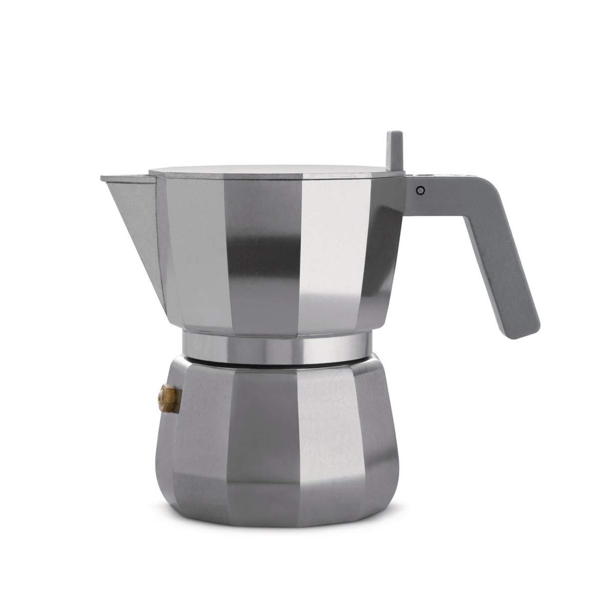Alessi Espresso Coffee Maker in Aluminium Casting. Handle and knob in PA, Grey. 3 Cup.