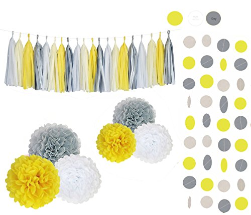 (Sopeace White Yellow Grey Tissue Pom Poms 28 Pcs Paper Flowers Tissue Tassel Paper Garland Kit for Baby shower Party Wedding Birthday Decorations)