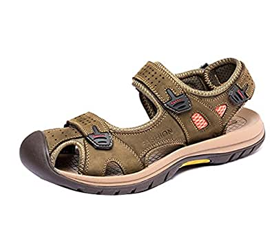 Gaorui Men's Closed Toe Beach Sandals Outdoor Soft Leather Antiskid Casual Shoes 7 D(M) US Army Green