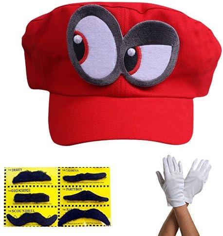 Super Mario gorra Odyssey - Conjunto de 1x guantes y 6x barba ...