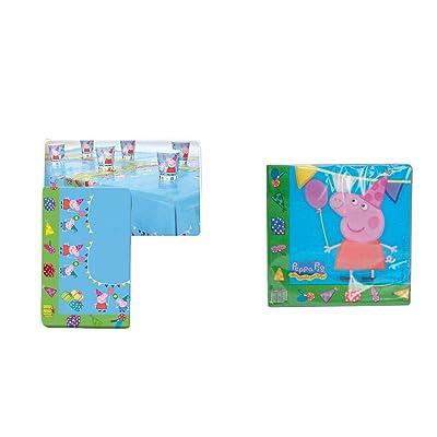 Peppa Pig 0543, Lote cumpleaños, Mantel Fiesta plástico 120x180 cm y 20 servilletas de Papel: Juguetes y juegos