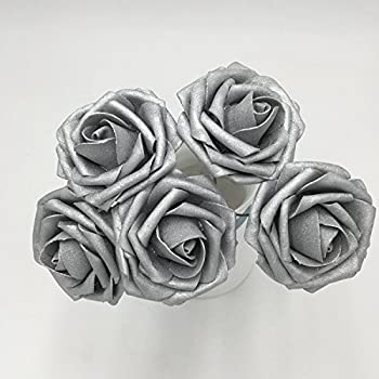 Rina 50 Pcs Artificial Flowers Foam Roses Various Colors For Bridal Bouquets Wedding Centerpieces Kissing Balls Silver