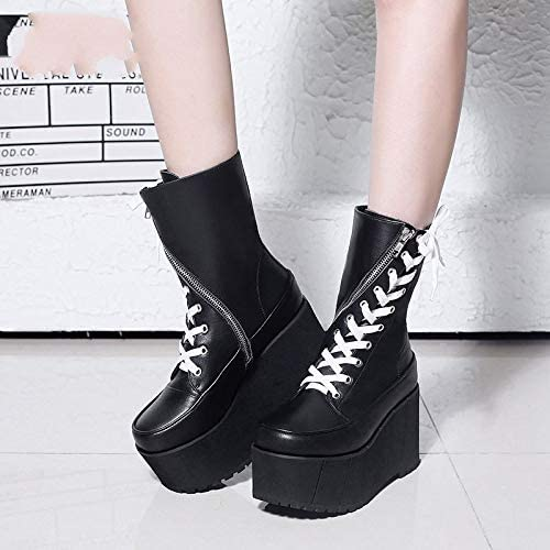 YCMCEO Handmade Genuine Leather Boots Women White Spring Autumn Fashion Zipper Motorcyle Boots Woman Thick Bottom Wedge Shoes black shoes
