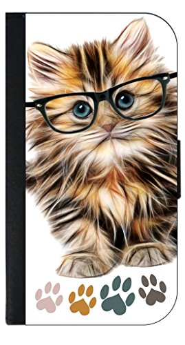 Hipster Kitty-Pawprints Apple iPad2/3/4 Black PU Leather & Suede Case