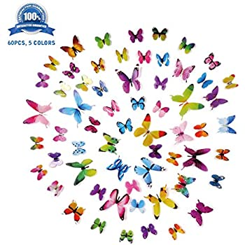 Amazoncom Wall Decals Stickers Art D Butterfly PCS  Colors - Custom vinyl wall decals falling off