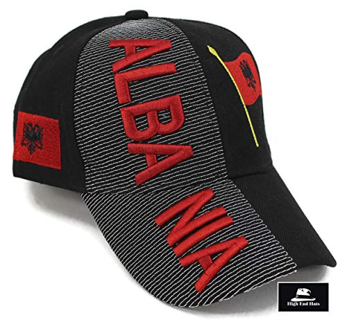 """High End Hats """"Nations Europe Hat Collection"""" Embroidered Adjustable Baseball Cap, Albania Flag, Black"""