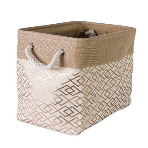 "DII Collapsible Burlap Storage Basket or Bin with Durable Cotton Handles, Home Organizational Solution for Office, Bedroom, Closet, Toys, & Laundry (Large – 18x12x15""), Diamond Bronze"