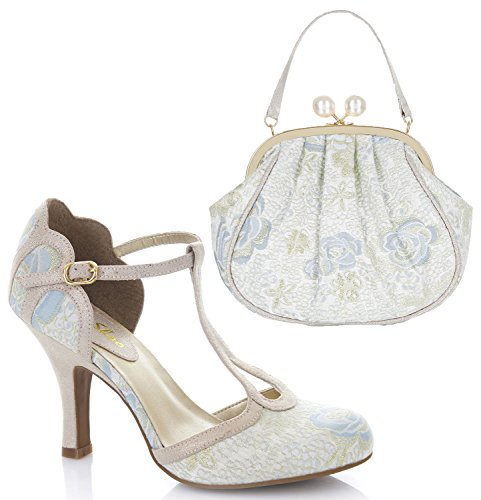 Ruby Shoo Women's Polly Mary Jane Pumps & Matching Arco Bag Blue 5s5tA80c