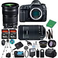 Canon EOS 5D Mark IV with 24-105mm IS STM + 55-250mm STM + 2pcs 16GB Memory + Case + Memory Reader + Tripod + ZeeTech Starter Set + Wide Angle + Telephoto + Flash + Filter